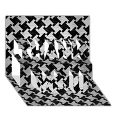 Houndstooth2 Black Marble & Silver Brushed Metal Thank You 3d Greeting Card (7x5) by trendistuff