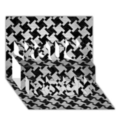 Houndstooth2 Black Marble & Silver Brushed Metal You Rock 3d Greeting Card (7x5) by trendistuff