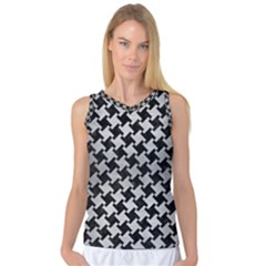 Houndstooth2 Black Marble & Silver Brushed Metal Women s Basketball Tank Top by trendistuff