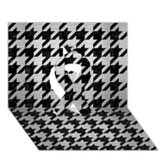 Houndstooth1 Black Marble & Silver Brushed Metal Ribbon 3d Greeting Card (7x5) by trendistuff