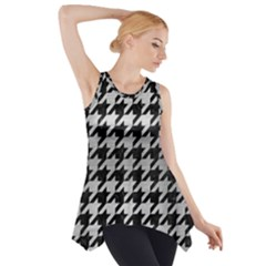 Houndstooth1 Black Marble & Silver Brushed Metal Side Drop Tank Tunic by trendistuff