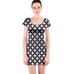 Circles3 Black Marble & Silver Brushed Metal (r) Short Sleeve Bodycon Dress by trendistuff