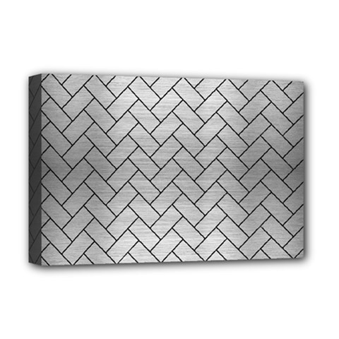 Brick2 Black Marble & Silver Brushed Metal (r) Deluxe Canvas 18  X 12  (stretched) by trendistuff
