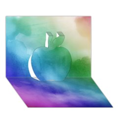 Rainbow Watercolor Apple 3d Greeting Card (7x5)  by StuffOrSomething