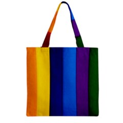 Rainbow Painting On Wood Grocery Tote Bag by StuffOrSomething