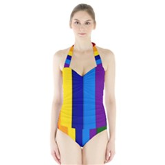 Rainbow Painting On Wood Women s Halter One Piece Swimsuit
