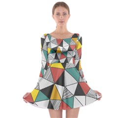 Colorful Geometric Triangles Pattern  Long Sleeve Skater Dress by TastefulDesigns