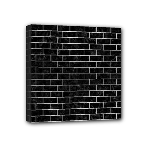 Brick1 Black Marble & Silver Brushed Metal Mini Canvas 4  X 4  (stretched) by trendistuff