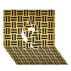 Woven1 Black Marble & Gold Brushed Metal (r) Ribbon 3d Greeting Card (7x5)