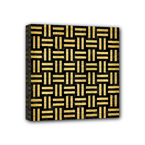 Woven1 Black Marble & Gold Brushed Metal Mini Canvas 4  X 4  (stretched) by trendistuff