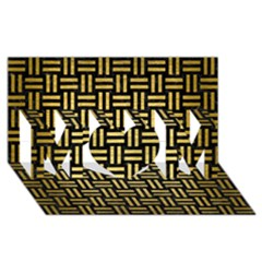 Woven1 Black Marble & Gold Brushed Metal Mom 3d Greeting Card (8x4) by trendistuff