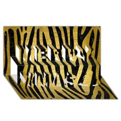 Skin4 Black Marble & Gold Brushed Metal Merry Xmas 3d Greeting Card (8x4) by trendistuff