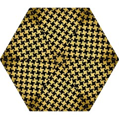 Houndstooth2 Black Marble & Gold Brushed Metal Mini Folding Umbrella by trendistuff