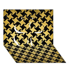 Houndstooth2 Black Marble & Gold Brushed Metal Clover 3d Greeting Card (7x5) by trendistuff
