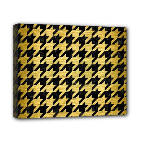 Houndstooth1 Black Marble & Gold Brushed Metal Canvas 10  X 8  (stretched) by trendistuff