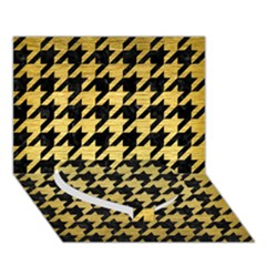 Houndstooth1 Black Marble & Gold Brushed Metal Heart Bottom 3d Greeting Card (7x5) by trendistuff