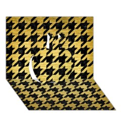 Houndstooth1 Black Marble & Gold Brushed Metal Apple 3d Greeting Card (7x5) by trendistuff