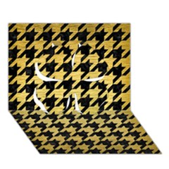 Houndstooth1 Black Marble & Gold Brushed Metal Clover 3d Greeting Card (7x5) by trendistuff