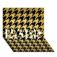 Houndstooth1 Black Marble & Gold Brushed Metal Hope 3d Greeting Card (7x5) by trendistuff