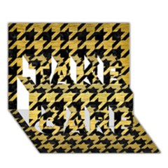 Houndstooth1 Black Marble & Gold Brushed Metal Take Care 3d Greeting Card (7x5) by trendistuff