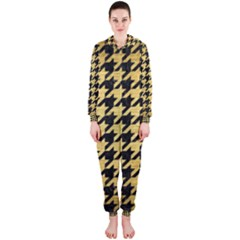 Houndstooth1 Black Marble & Gold Brushed Metal Hooded Jumpsuit (ladies) by trendistuff