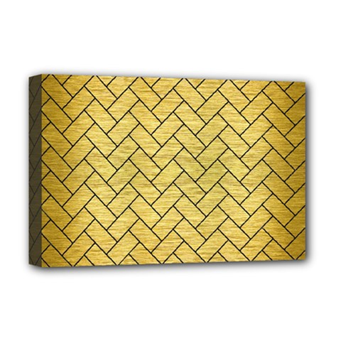 Brick2 Black Marble & Gold Brushed Metal (r) Deluxe Canvas 18  X 12  (stretched) by trendistuff