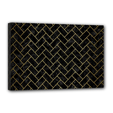Brick2 Black Marble & Gold Brushed Metal Canvas 18  X 12  (stretched) by trendistuff
