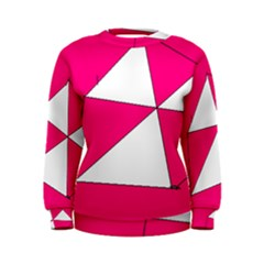 Funny Hot Pink White Geometric Triangles Kids Art Women s Sweatshirt by yoursparklingshop