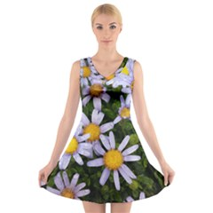 Yellow White Daisy Flowers V-neck Sleeveless Skater Dress
