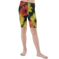 Orange Yellow Flowers Kid s Mid Length Swim Shorts
