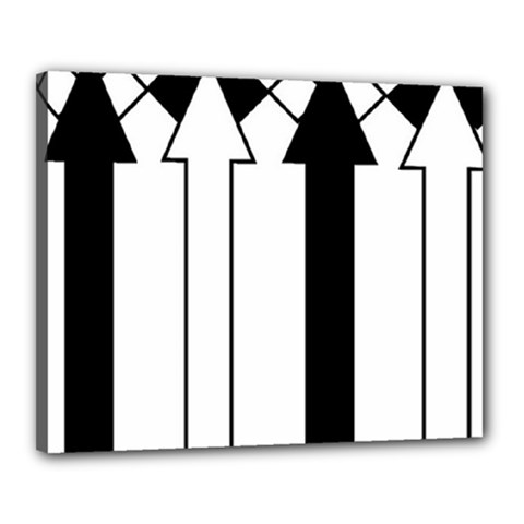 Funny Black and White Stripes Diamonds Arrows Canvas 20  x 16