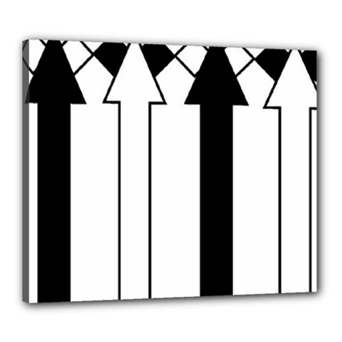 Funny Black and White Stripes Diamonds Arrows Canvas 24  x 20