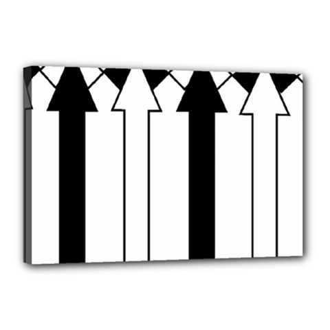 Funny Black and White Stripes Diamonds Arrows Canvas 18  x 12