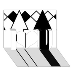 Funny Black and White Stripes Diamonds Arrows I Love You 3D Greeting Card (7x5)