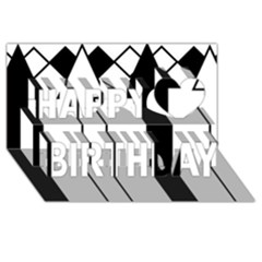Funny Black and White Stripes Diamonds Arrows Happy Birthday 3D Greeting Card (8x4)