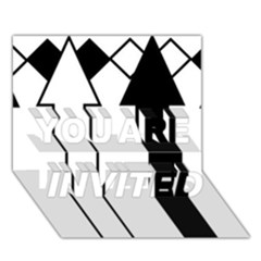 Funny Black and White Stripes Diamonds Arrows YOU ARE INVITED 3D Greeting Card (7x5)