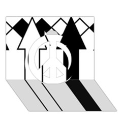 Funny Black and White Stripes Diamonds Arrows Peace Sign 3D Greeting Card (7x5)