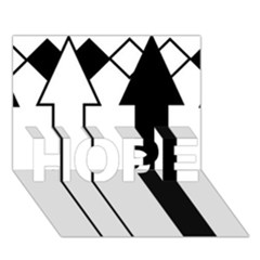 Funny Black and White Stripes Diamonds Arrows HOPE 3D Greeting Card (7x5)