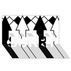 Funny Black and White Stripes Diamonds Arrows SORRY 3D Greeting Card (8x4)