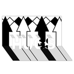Funny Black and White Stripes Diamonds Arrows HUGS 3D Greeting Card (8x4)