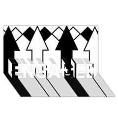 Funny Black and White Stripes Diamonds Arrows ENGAGED 3D Greeting Card (8x4)