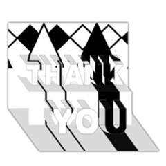 Funny Black and White Stripes Diamonds Arrows THANK YOU 3D Greeting Card (7x5)