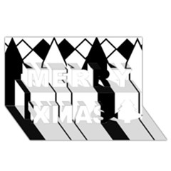 Funny Black and White Stripes Diamonds Arrows Merry Xmas 3D Greeting Card (8x4)