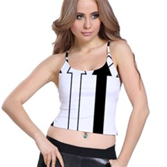 Funny Black and White Stripes Diamonds Arrows Spaghetti Strap Bra Top