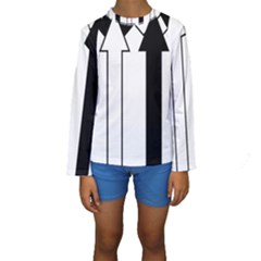 Funny Black and White Stripes Diamonds Arrows Kid s Long Sleeve Swimwear
