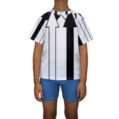 Funny Black and White Stripes Diamonds Arrows Kid s Short Sleeve Swimwear