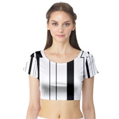 Funny Black and White Stripes Diamonds Arrows Short Sleeve Crop Top (Tight Fit)