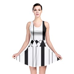 Funny Black and White Stripes Diamonds Arrows Reversible Skater Dress