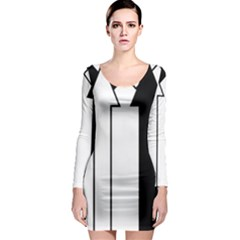 Funny Black and White Stripes Diamonds Arrows Long Sleeve Bodycon Dress