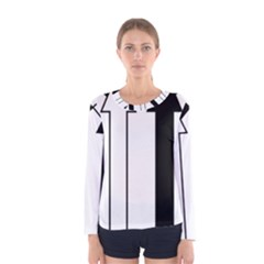 Funny Black and White Stripes Diamonds Arrows Women s Long Sleeve Tee